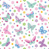 Butterflies flowers hearts and dots pattern Royalty Free Stock Photography