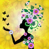 Butterflies Flowers Indicates Florist Bloom And Petal Royalty Free Stock Photo