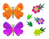 Butterflies, Flowers, and Leaves Stock Image