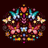 Butterflies, flowers nature vector illustration Stock Image