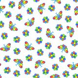 Butterflies and flowers seamless pattern. royalty free illustration