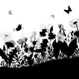 Butterflies and Flowers Silhouettes Stock Photos