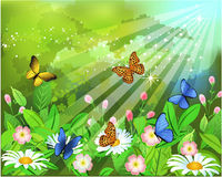 Butterflies on the flowers. Vector illustration of butterflies flying on the flowers in a spring bush Royalty Free Stock Photo