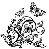Butterflies and flowers. Vintage style decorative composition with flowers and butterflies - black and white detailed vector swirls Stock Photo