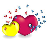 Butterflies fly out of two hearts Stock Photography