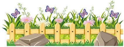 Butterflies flying around flowers stock illustration