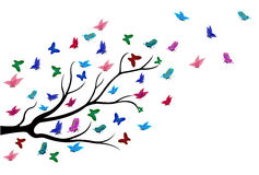 Butterflies flying among the branches of trees. Full colour stock illustration