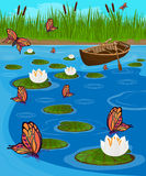 Butterflies flying over the lake among the blooming lilies Stock Image
