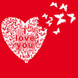 Butterflies folded heart on a red background Royalty Free Stock Photography