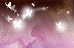 Butterflies Free in Flight. Digital graphic illustration of butterflies in free flight against oil paint textured background Royalty Free Stock Image