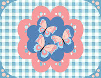 Butterflies gingham pattern Stock Image