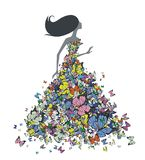 Butterflies. Girl in the dress of butterflies royalty free illustration