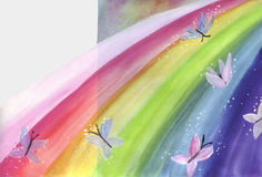 Butterflies glide on rainbow. Chasing butterflies dance above the rainbow with colors Stock Image