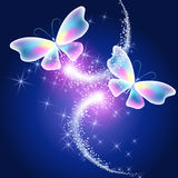Butterflies and glowing firework Royalty Free Stock Photography