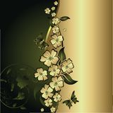 Butterflies and gold flowers. The stylised flowers and leaves with flying butterflies on a gold and green background Royalty Free Stock Images
