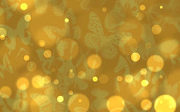 Butterflies. Golden lights background digital art with some purple butterflies Stock Photo
