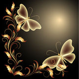Butterflies and golden ornament Stock Photos