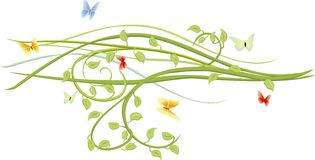 Butterflies and green twigs. Vector decorative element in spring mood Stock Photo