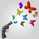 Butterflies and gun Stock Photos