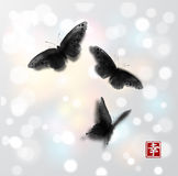 Butterflies hand drawn with ink on white glowing background. Traditional oriental ink painting sumi-e, u-sin, go-hua Stock Images