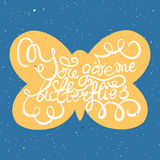 Butterflies with hand drawn typography poster. Royalty Free Stock Photos