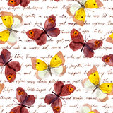 Butterflies at hand writing text letter. Seamless pattern. Water color and ink. stock illustration