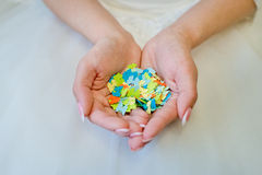 Butterflies in the hands. Paper butterfly in hands of the bride royalty free stock image