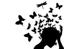 Butterflies from a head. From a head of the girl butterflies take off. A  illustration Stock Images
