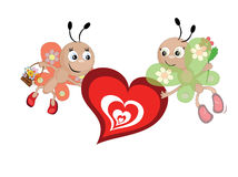 Butterflies with heart Royalty Free Stock Image