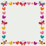 Butterflies & hearts border Stock Photos