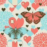 Butterflies and hearts. Retro love pattern stock illustration