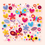 Butterflies, hearts & flowers Stock Photography
