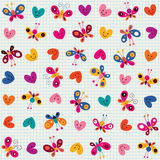 Butterflies & hearts pattern Stock Photo