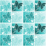 Butterflies hearts pattern background. Butterflies with hearts inside squares seamless background Royalty Free Stock Images
