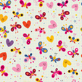 Butterflies and hearts seamless pattern Royalty Free Stock Images