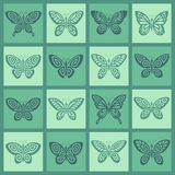 Butterflies icon set. 16 different icons royalty free illustration