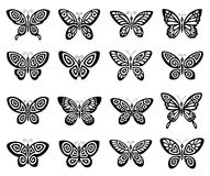 Butterflies icon set Royalty Free Stock Images
