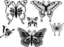 Butterflies Illustration. Butterfly illustration design elements on white background Stock Images