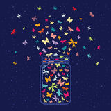 Butterflies inner jar. Vector illustration / glass jar with plenty of butterflies inside on dark night sky background Royalty Free Stock Photos