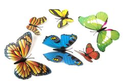 Butterflies isolated on white with soft shadow beneath each.. stock images