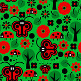 Butterflies and ladybirds pattern Royalty Free Stock Images