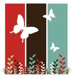 Butterflies and leaves background royalty free illustration