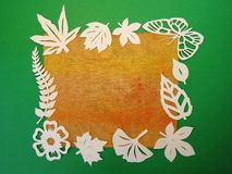 Butterflies, leaves and flowers frame. Paper cutting. Stock Photography