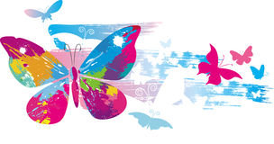 Butterflies and line brushes Stock Photography