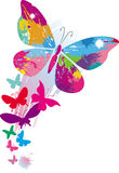 Butterflies and line brushes. Vector illustration Royalty Free Stock Photo