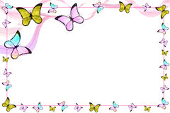Butterflies and lines. Creative colorful abstract frame with bautterflies and lines royalty free illustration