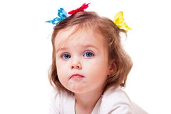 Butterflies little girl Stock Image