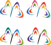 Butterflies logos Stock Photography