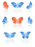 Butterflies logos set. Stock Image