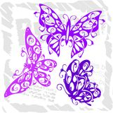 Butterflies in Modern Style - Set 2. Royalty Free Stock Image